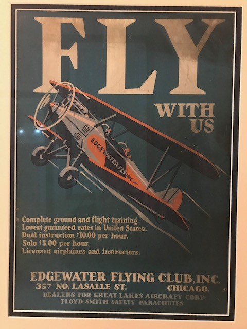 Promotional poster for Edgewater Flying Club about 1930. (Photo courtesy of Steve King)